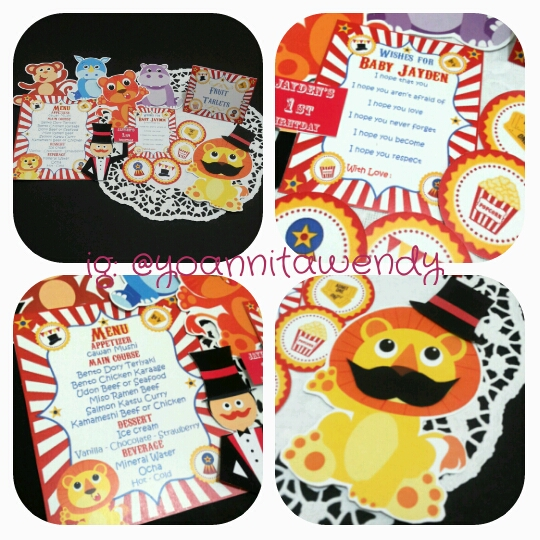 Menu, Wishes card, table decoration, platematte, cupcake toppers