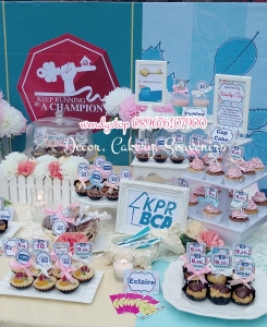 sweet corner dessert table surabaya bca kpr gathering spring flower desset table sweet corner outdoor indoor party arisan 3