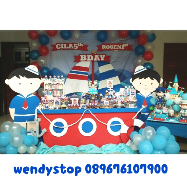 Sweet corner sailor dessert table surabaya sidoarjo jual sweet corner dekor pesta baloon gate