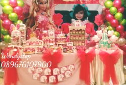 Dessert table sweet corner surabaya kue ultah sidoarjo jual sweetcorner desserttable partydecor party decoration sidoarjo gresik barbie faitopia girl bday dekor balon barbie fairytopia tema theme girly