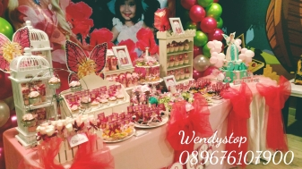 Dessert table sweet corner surabaya kue ultah sidoarjo jual sweetcorner desserttable partydecor party decoration sidoarjo gresik barbie faitopia girl bday dekor balon barbie fairytopia tema theme