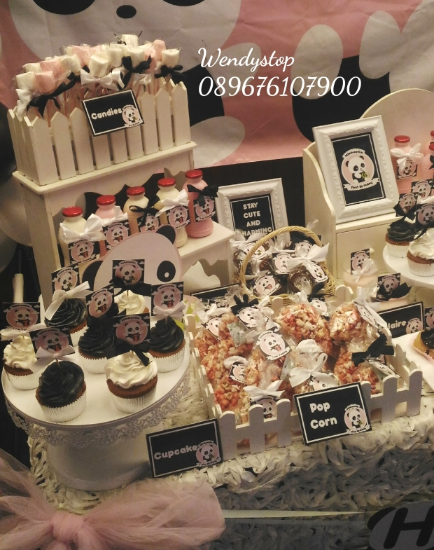 Dessert table sweet corner surabaya kue ultah sidoarjo jual sweetcorner desserttable partydecor party decoration sidoarjo gresik birthday party theme panda