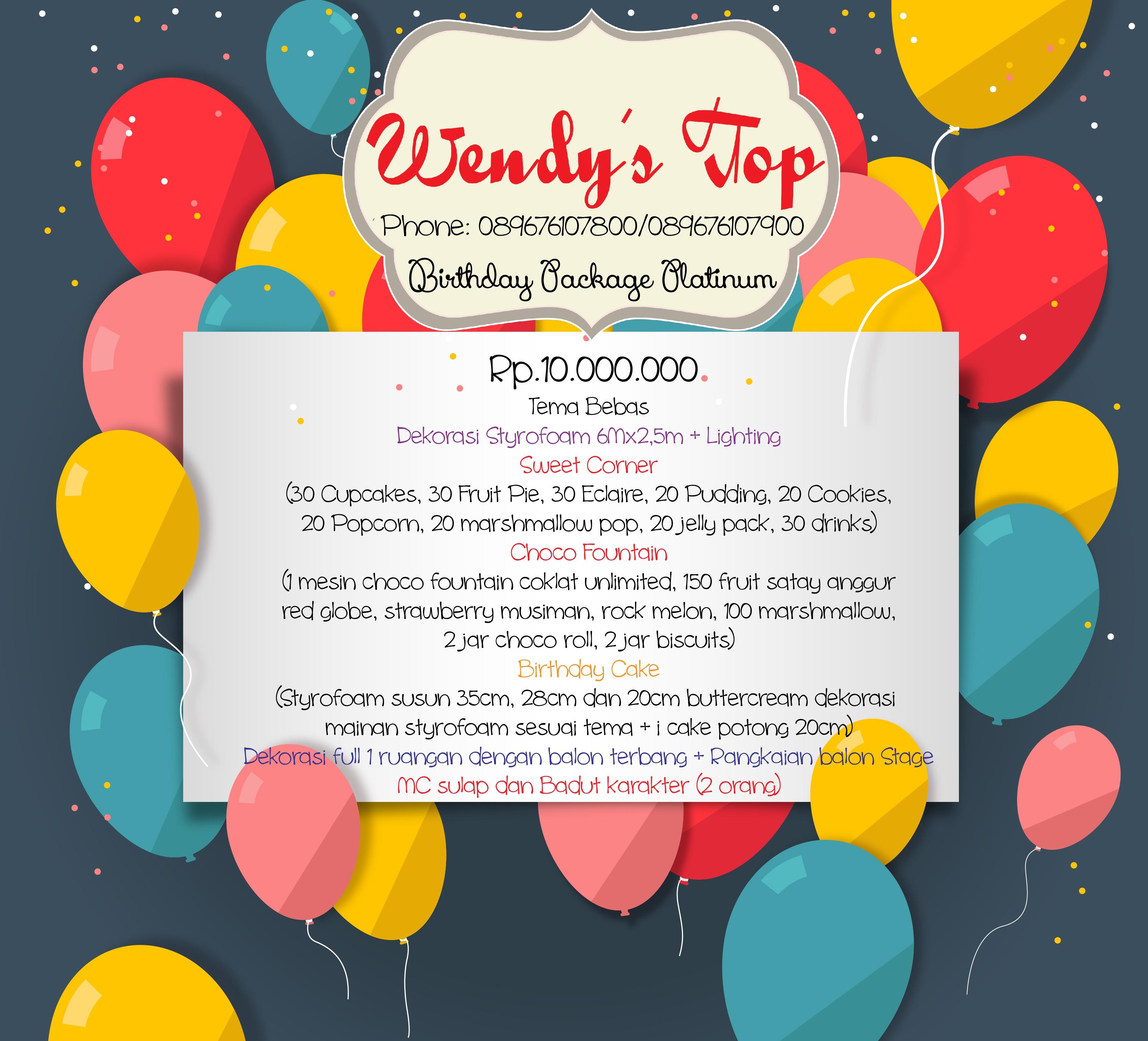 Paket Ulang Tahun Wendy S Top
